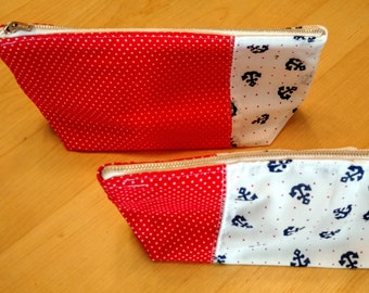 Set of (2) Matching Nautical Anchor & Red Polka Dot Makeup Bags