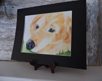 Golden Retriever Painting-Dog Painting-Fine Art-Original Watercolor Painting of Golden Retriever-Pet Portrait