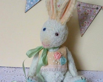 OOAK Handmade 8 inch viscose Teddy bunny  April