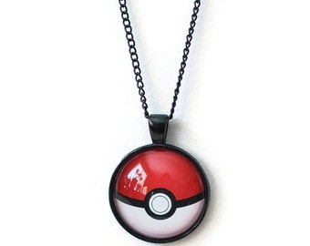 Pokeball Pendant Necklace with Black Chain