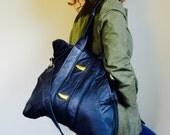 Collector///XL Oxford Traveler Tote In Vintage Black Leather Jacket with Adjustable Messenger Strap
