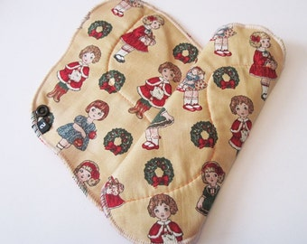 Set of 2 Vintage Girls Printed Reusable Cloth Mama Pads . 8 Inch FREE Shipping