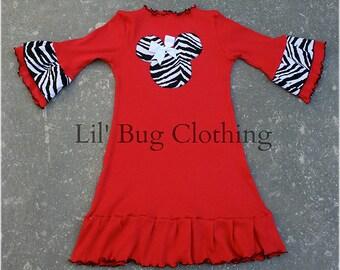 Animal Kingdom Minnie Mouse Dress, Red Knit Minnie Mouse Dress, Zebra Stripe & Red Minnie Dress, Minnie Birthday Party Dress