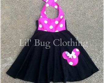 Minnie Mouse Dress, Hot Pink White Polka Dot Minnie Mouse Dress, Minnie Mouse Birthday Dress, Custom Boutique Minnie Dress,