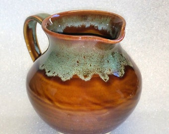 Amber and Green Pottery Pitcher - Wheel Thrown