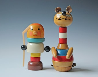 Pair of vintage wooden toys, modern colorful hand painted toys / nursery kids room display decor