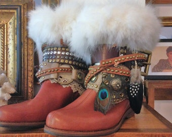 Boot Toppers Fox Fur Felted Wool Feathers Studs