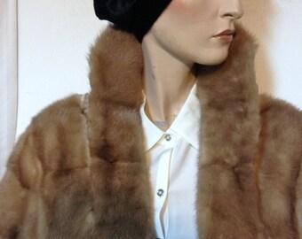 Sable Stole Wrap Coat Vintage 60s Size XL 12 to 16
