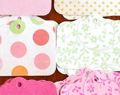 Set of 50 Tags, BUBBLEGUM POP Patterned Paper Set, Personalized Tags, Gift Tags, Hang Tags, Favor Tags