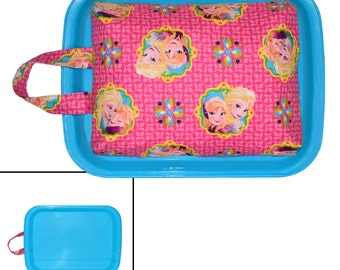 GIRLS LAP DESK - Made From Frozen Anna & Elsa Fabric - Great For Car Trips