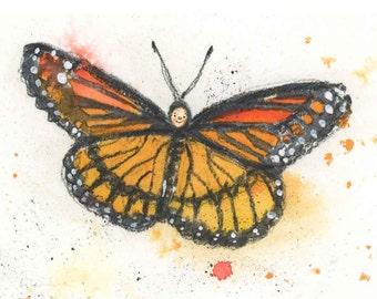 Monarch Butterfly Print  - Butterfly Nursery Decor - Butterfly Watercolor Print - Butterfly Wall Art - Girls Butterfly Print