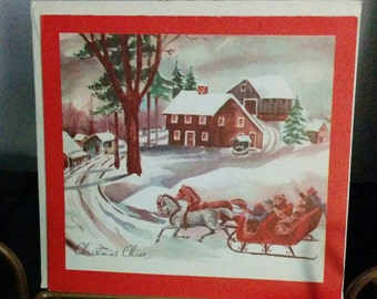 Vintage 50s Christmas Card Horse Carriage Winter Scene Unused Xmas Snow Nostalgia Paper Ephemera Jingle Bells