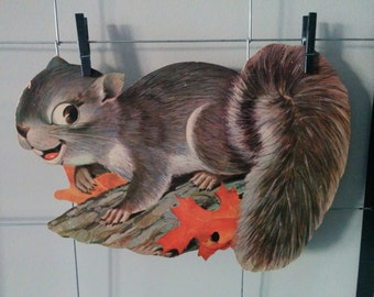 Sale - Vintage 1950s Squirrel Fall Themed Large School Classroom Die Cut 50s Ephemera 10 inches