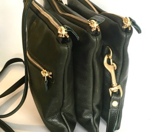 Triple AW13 leather bag in dark green