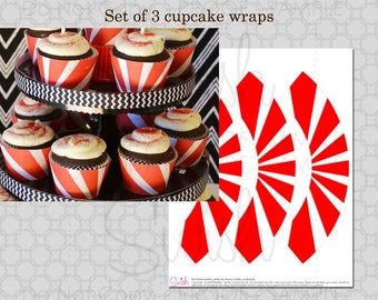 Ninja Warrior Red and white cupcake wraps - printable INSTANT DOWNLOAD