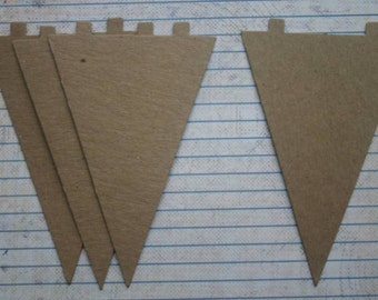 4 Bare chipboard Triangle Pennant die cuts (Banner) 2 7/8 inch x 4 5/8 inch