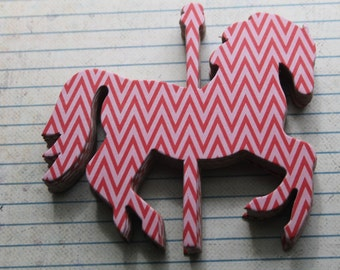 9 Carousel HORSE red/pink chevron chipboard covered die cuts 4 inches  x 3 3/8 inches set [9CA]