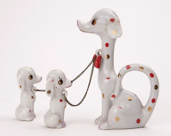 White Dalmatian with 2 Leashed Babies Made in Japan