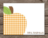 Teacher Note Cards - Notecards - Teacher Appreciation - Gift - Stationary - Stationery - Apple - Personalized - Set of 8
