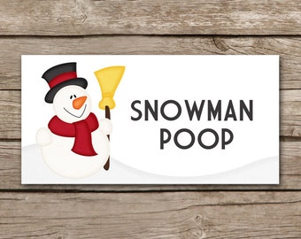 Christmas Treat Bag Topper, Snowman Poop, Winter Treat Bag Topper, Christmas Sticker, Holiday Treat Bag Topper, INSTANT DOWNLOAD