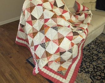 Handmade Quilt, Hourglass Quilt, Handquilted Quilted, Patchwork Quilt,  Full Size Quilt, Fiber Art, Quilting