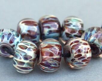 Boro Glass Lampwork Beads Purple and Maroon