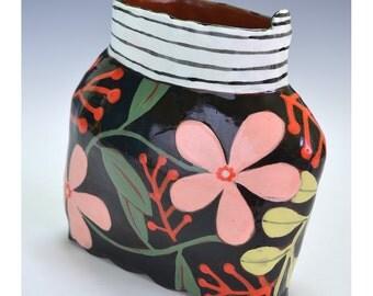 Vase, Black with Flowers.