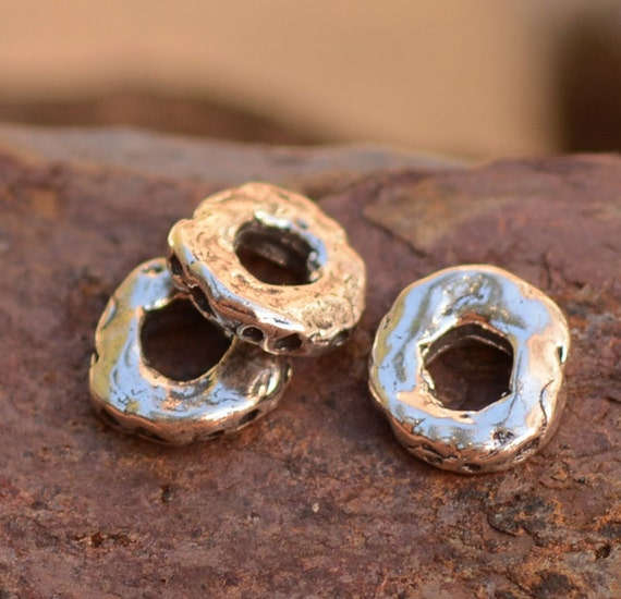 TWO 8mm Dimpled Spacer Beads in Sterling Silver SL85