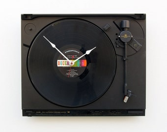 Recycled Turntable Clock, record player clock, steampunk unique upcycled clock, music lovers gift