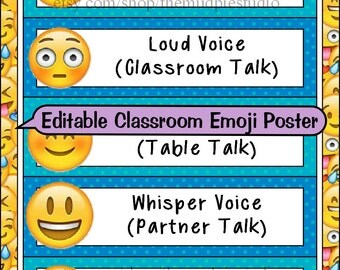 Editable Emoji Voice Level Chart Template - Instant Digital Download
