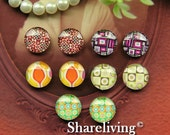 20% OFF SALE - Time Limited Offer - 20 Percent OFF - 10pcs 12mm Mixed Handmade Photo Glass Cabochon / Wooden Cabochon  -- Mch009R