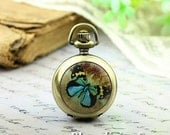 10% OFF SALE - 1pcs Personalized Handmade Antique Bronze / Silver Photo Pocket Watch Pendant / Charm (Vintage Butterfly -- HWK501L