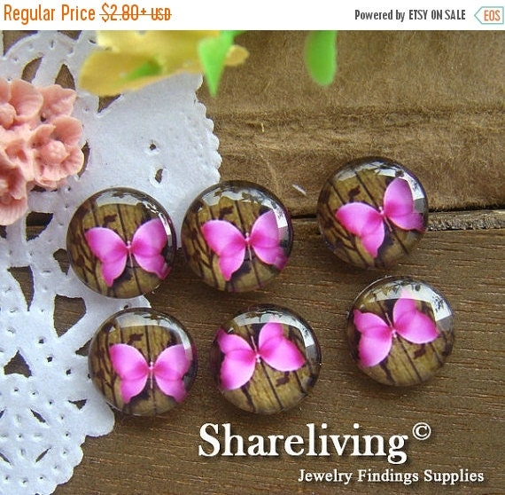 20% OFF SALE - Glass Cabochon, 8mm 10mm 12mm 14mm 16mm 20mm 25mm 30mm Round Handmade photo glass Cabochons (Butterfly)  -- BCH099E