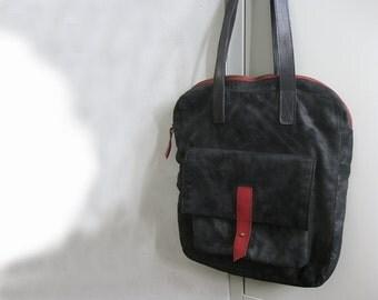 Bag Tote Black Italian Material Leather Straps