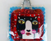 Cat Christmas Tree Ornaments  Tuxedo Black and White Handmade Painted by Sharon Bloom Designs