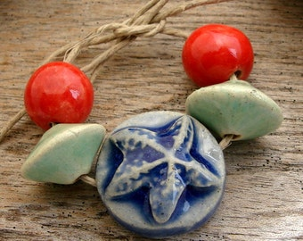 STARFISH CERAMIC SET - Handmade Ceramic Beads and Tab - 5 Ceramic Beads - #1