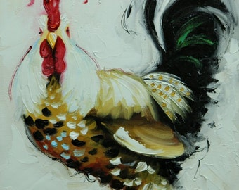 Rooster 805 12x12 inch animal portrait original oil painting by Roz