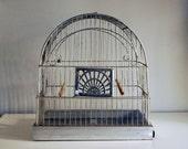 1930s Birdcage Crown Metal Silver Wire Vintage Bird Cage, Art Deco Rustic Home Decor Cottage Chic Wedding Garden Ornament