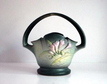 Roseville Freesia Vase, American Art Pottery, Green Basket Vase, Vintage Fine Art Ceramic Vase, Cottage Chic Decor, Lavender Flowers 391-8