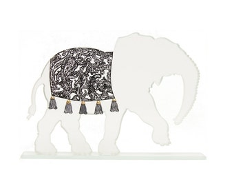 Glass Elephant Sculpture Paisley Blanket Custom Screen Print Colours