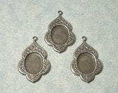 3 - Antique Silver Etched Floral Design Settings, 8x10mm Cabochon Settings, Earring Drops, Earring Components