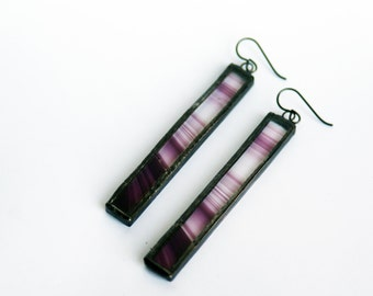 STAINED GLASS - EARRINGS- Glass earrings - Purple Earrings