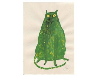 Original Painting - Faye Moorhouse - GREEN CAT 3