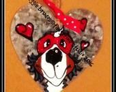 metal Handpainted Bernese Mountain Dog valentine ornament heart kissing bandit hang tag Maggie Brudos whimsical art Tangerine Studio