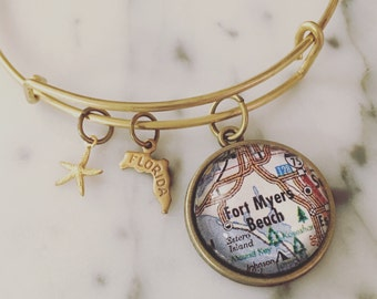 Fort Myers Beach Map Charm Bangle Bracelet - Personalized Map Jewelry - Stacked Bangle - Florida - Gulf of Mexico - Beach - Salt Life
