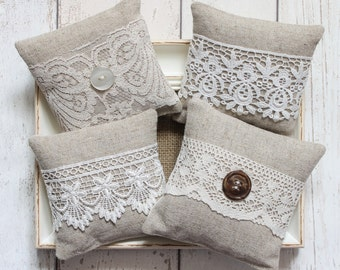 2 x Lavender Bags with Assorted Lace Decoration