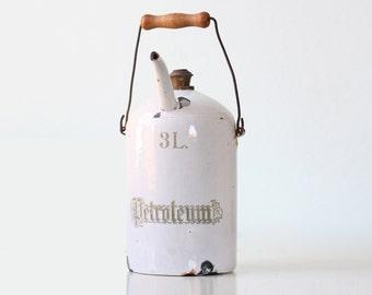 Vintage Enamel Petroleum Can, Porcelain Gasoline Pitcher Container