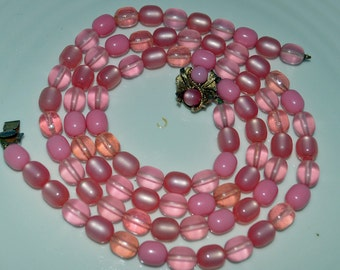 Vintage Jewelry Destash - PINK LUCITE  Double Strand Necklace with Matching Clasp - Repair or Recycle