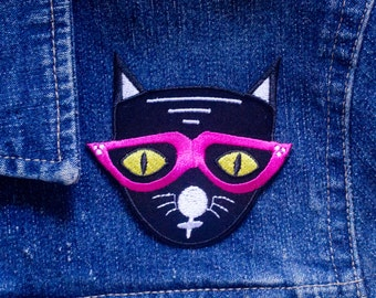 Cool Cat Velveteen Iron-on Embroidered Patch