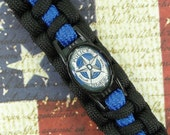 DALLAS POLICE PARACORD Bracelet | Thin Blue Line | Dallas Texas Police Dept | Black Blue | Badge Gold Silver | Law Enforcement | Officer
